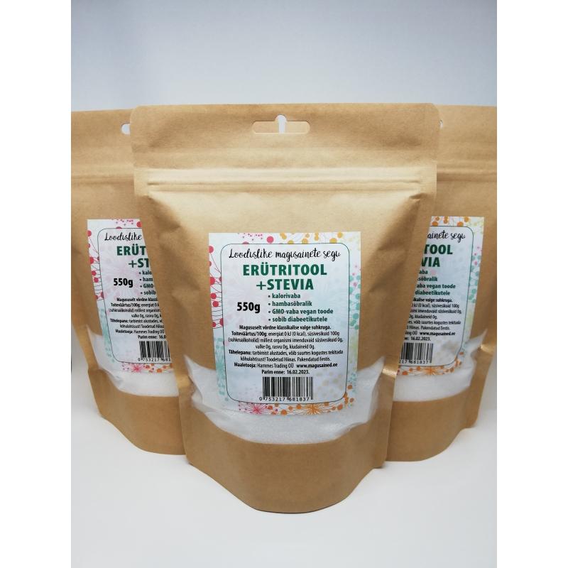 Magusainete segu, erütritool+stevia 3x550g (kokku 1,65kg)